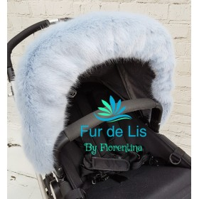 Soft Baby Blue Faux Fur Pram Hood Trim.