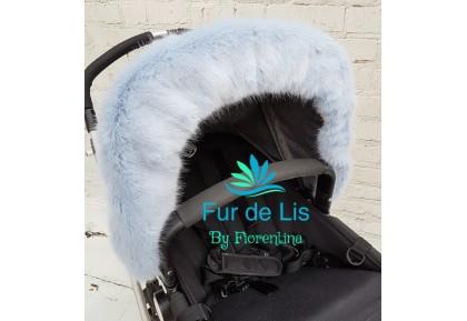 Soft Baby Blue Faux Fur Pram Hood Trim. Includes UK P&P.