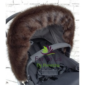 Faux Fur Pram Hood Trim by Fur De Lis. DEEP BROWN.