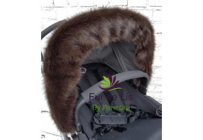 Faux Fur Pram Hood Trim by Fur De Lis. DEEP BROWN. Includes UK P&P.