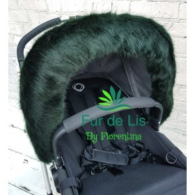 Faux Fur Pram Hood Trim by Fur De Lis. DEEP GREEN.
