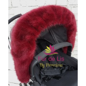 Faux Fur Pram Hood Trim by Fur De Lis. DEEP MERLOT.