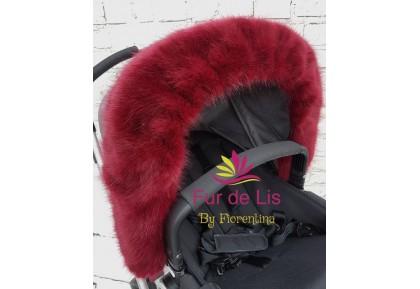 Fur de Lis Lapelle™, Faux Fur Pram Hood Trim For Bugaboo, Icandy, Stokke, Silver Cross and More. DEEP MERLOT. Includes UK P&P.