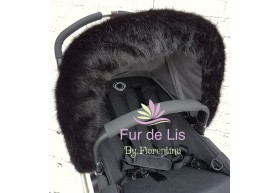 Fur de Lis Lapelle™, Faux Fur Pram Hood Trim For Bugaboo, Icandy, Stokke, Silver Cross and More. MIDNIGHT BLACK. Includes UK P&P.