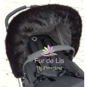 Midnight Black Faux Fur Pram Hood Trim.