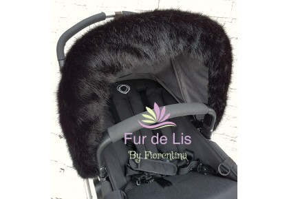 Midnight Black Faux Fur Pram Hood Trim. Includes UK P&P.
