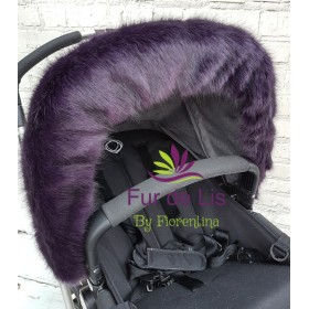 Deep Purple Faux Fur Pram Hood Trim.