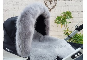 Fur de Lis Lapelle™, Faux Fur Pram Hood Trim For Bugaboo, Icandy, Stokke, Silver Cross and More. SOFT GREY. Includes UK P&P