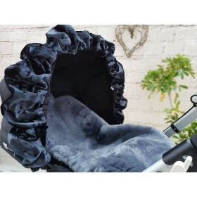 NEW! BLACK Truffle Pram Hood Lapelle™ by Fur de Lis.