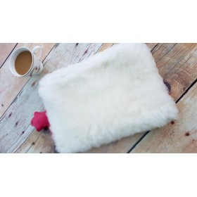 Luxury Wool Hot Water Bottle Cover (LARGE). Off white only.