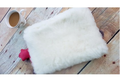 Luxury Wool Hot Water Bottle Cover (SMALL). Off white only.