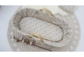 Luxury Moses Basket Dressed with Liberty Cotton.