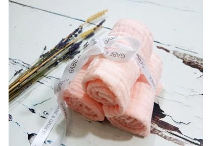 Organic Cotton Muslin Squares x 3 Peach approx 50 x 50cm