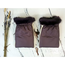 Lambert Collection Aubergine Brown Pair of Wool Pram Mitts.