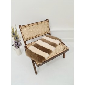 Luxury Stripe Sheepskin Liner (Mink / Ivory) Made to fit Charlie Crane Levo Rocker