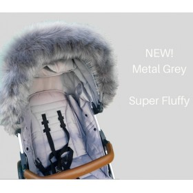 Faux Fur Pram Hood Trim by Fur De Lis. METAL GREY. Includes UK P&P