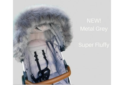 NEW! Fur de Lis Lapelle™, Faux Fur Pram Hood Trim For Bugaboo, Icandy, Stokke, Silver Cross and More. METAL GREY. Includes UK P&P