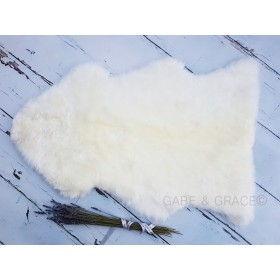 ONE LEFT! Natural White Undyed Midi Luxury Lambskin Baby Rug / Comforter  (90+cm)