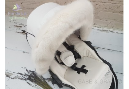 Soft White Faux Fur Pram Hood Trim. Includes UK P&P.